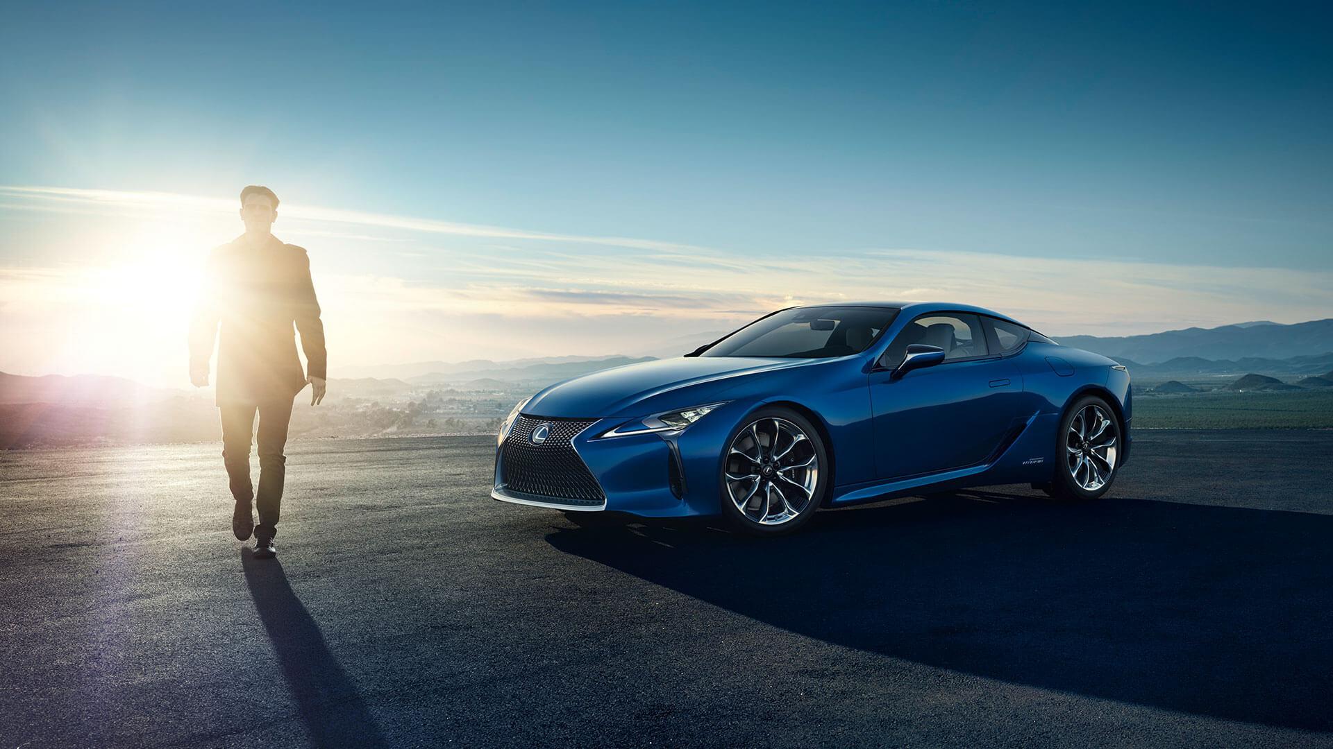 Blue Lexus & Man