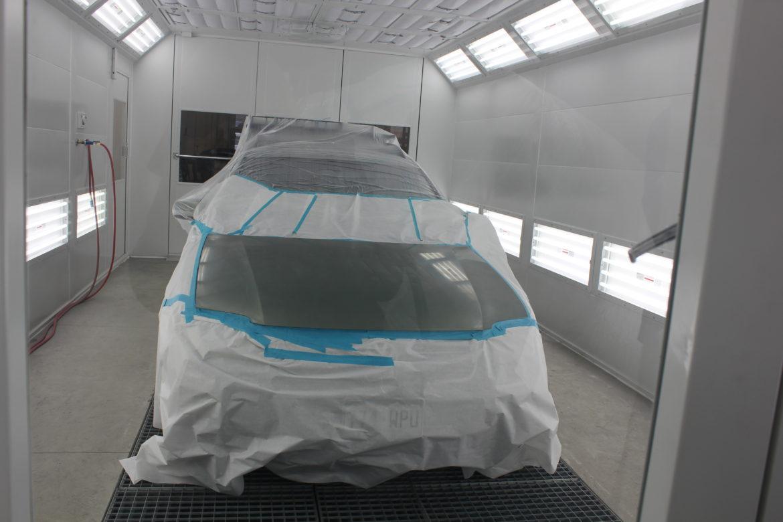Car in spray booth